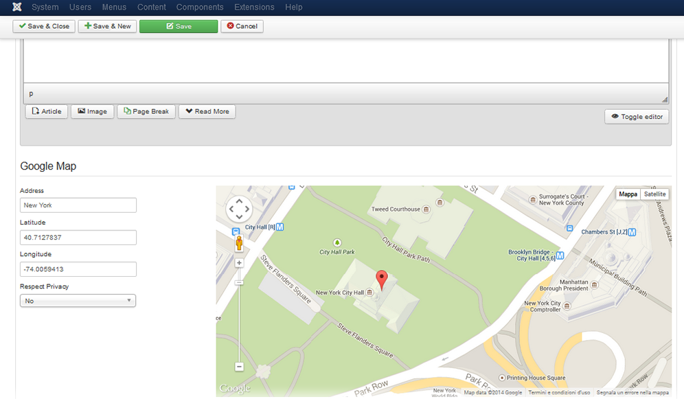 o Maps | Google Maps for K2 plugin - Joomla Maps Map Articles on
